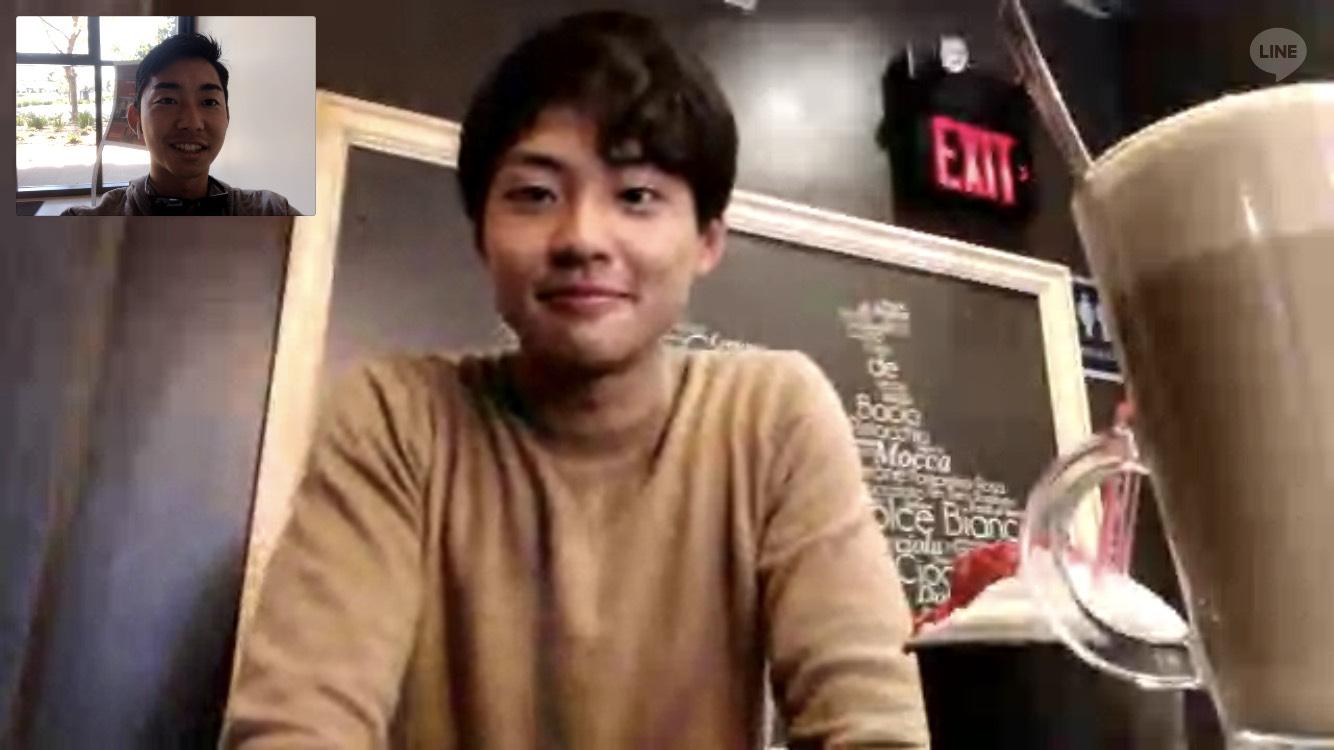 仙田と村岡選手のビデオ通話の様子